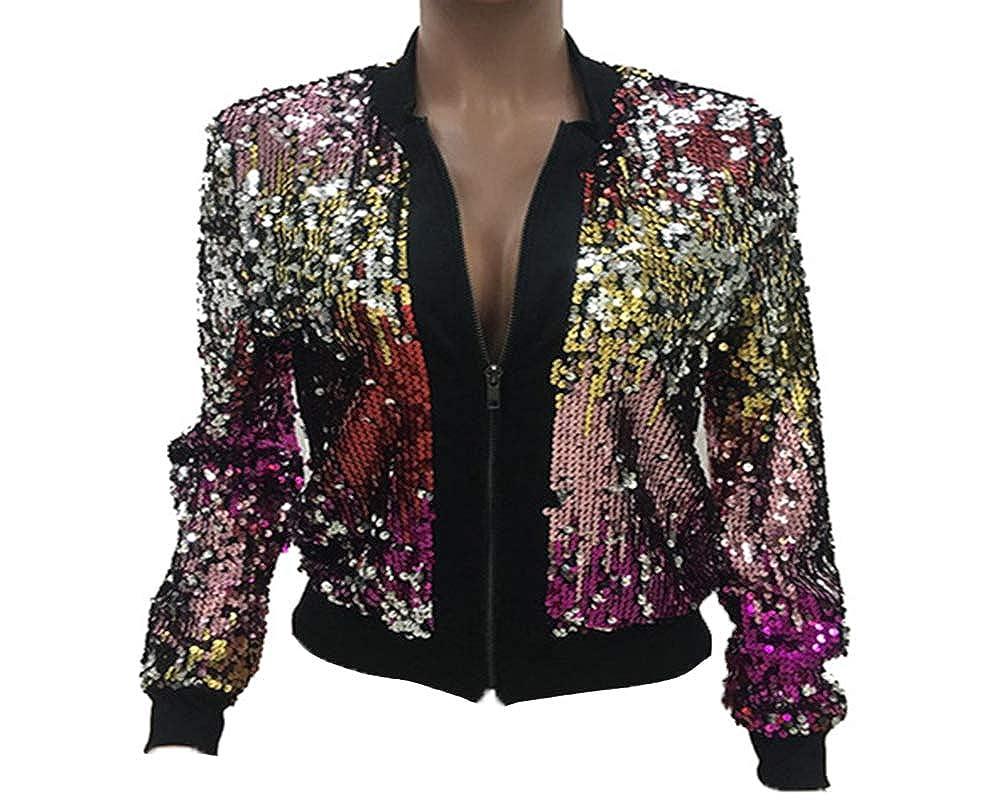 AnyuA Donna Brillantini Paillettes Blazer Cerniera Cappotto Manica Lunga Grazioso Vintage Eleganti Cocktail Party Giacca Bomber Jacket