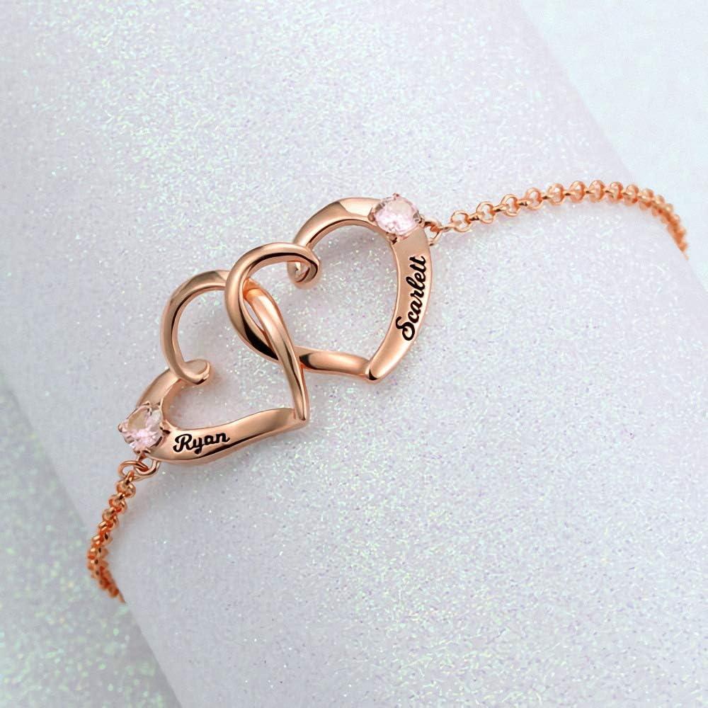 Bracelet Prenom Personnalis/é Couple Double Coeur Grav/é Charme Bracelet 925 Argent Sterling//Or//Or Rose
