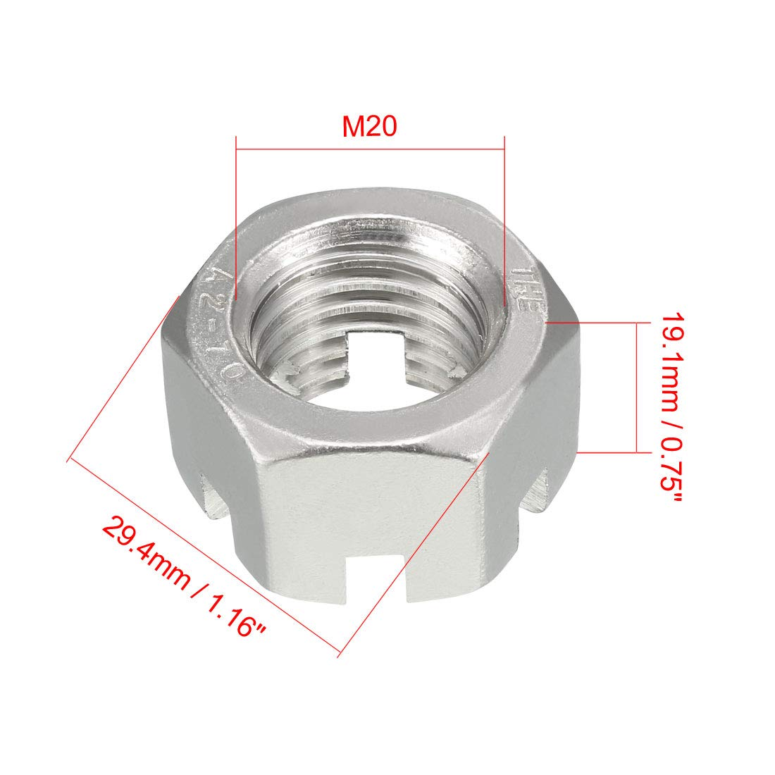 uxcell M10 x 1.5mm Pitch 304 Stainless Steel Slotted Hex Nuts Pack of 10