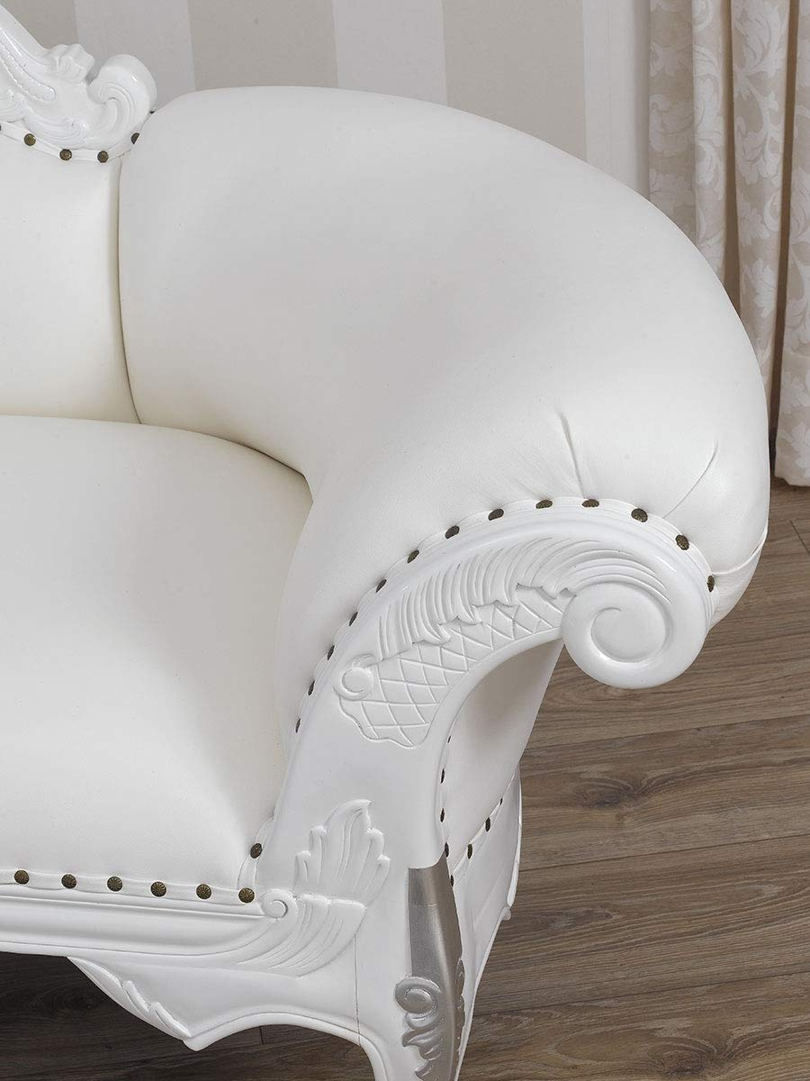Moderne Blanc Style Baroque Meridienne Canapé Joana Chaise Longue FTlK1Jc3