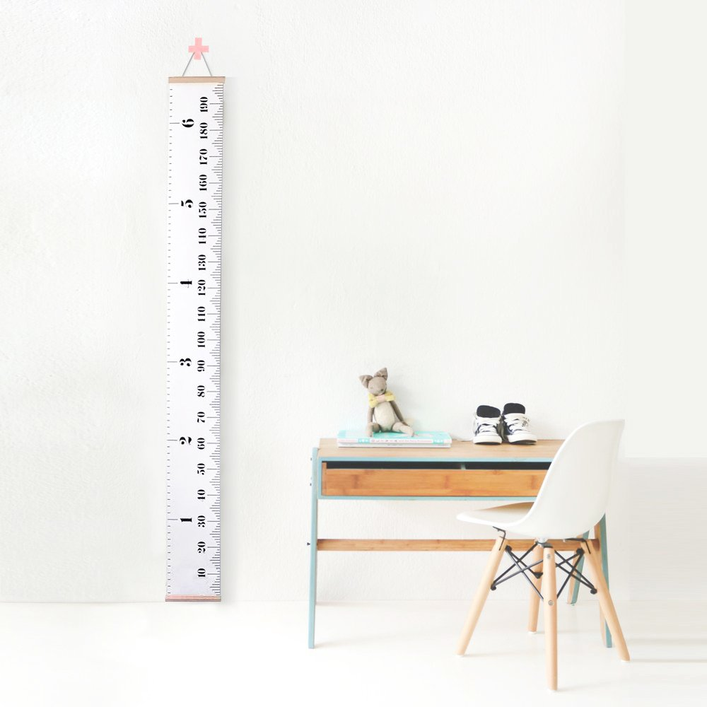 Kids Baby Height Growth Chart-Roll Up Wood Frame Fabric Hanging Ruler Children Nursery Room Wall Decor Baby Shower Gift, 79'' x7.9''