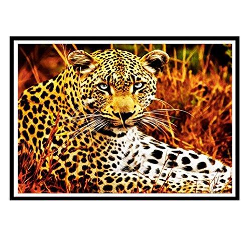 FORESTIME Leopard 5D Paint With Diamonds Square Diamonds Premium DIY Diamond Painting Kit For Adult Cross Stitch Lovers Plus (Multicolor, 30×25 (Leopard Diy Halloween)