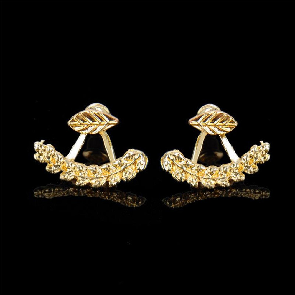 ZHUOTOP Lady's Attractive Leaf Ear Stud Front & Back Earrings Gift 1 Pair Gold