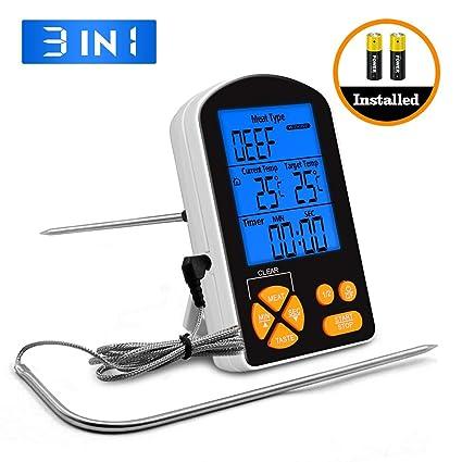 Termómetro de Cocina LCD Digital 2 en 1 Pathonor Termómetros Interior/Carne Sondas dobles Impermeable