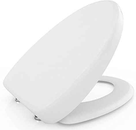Easy Instal White Square Soft Close Toilet Seat Bottom Fixing Quick Release WC