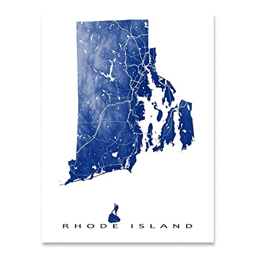 Amazon.com: Rhode Island Map Print, RI State Art, USA, Providence ...