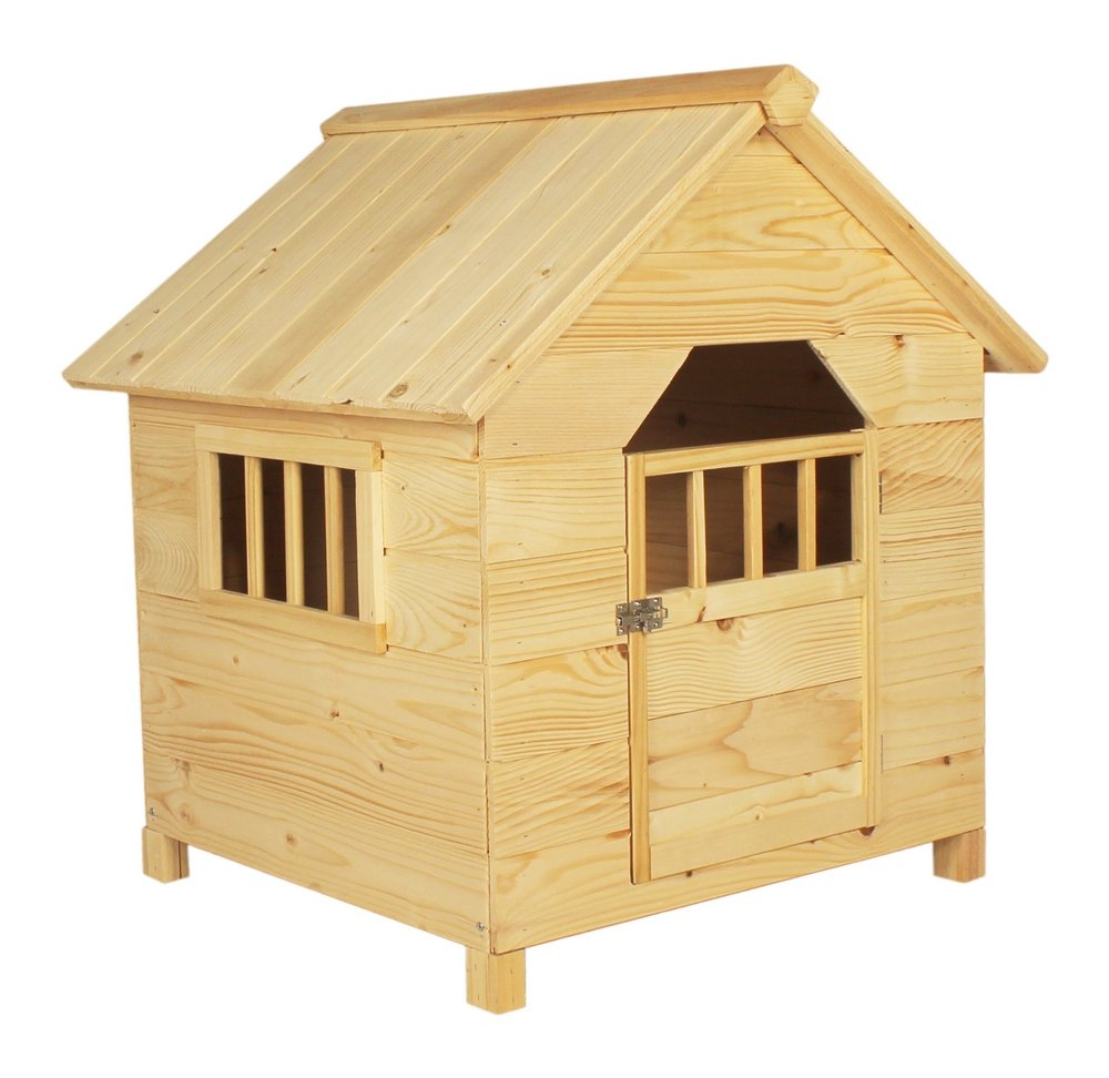 Wooden small dog kennel outdoor shelter doghouse den solid for Small garden shelter