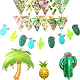 LOLOAJOY Hawaii Decor Birthday or Wedding Party Cactus Garland Banner Pineapple Coconut Tree Cactus Aluminum Foil Ballons Summer Beach Triangle Printing Banner Decor