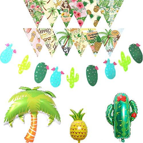 LOLOAJOY Hawaii Decor Birthday or Wedding Party Cactus Garland Banner Pineapple Coconut Tree Cactus Aluminum Foil Ballons Summer Beach Triangle Printing Banner Decor by LOLOAJOY