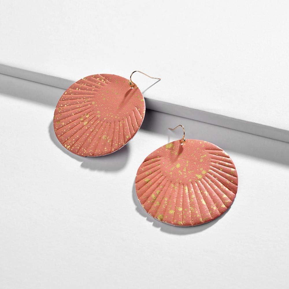 Pendientes Pendientes De Moda Impreso En Color Coral Disco Imitación Cuero Aretes Fringe Borla Redonda Pendientes De Caída para La Mujer Verano Aretes De Cuero