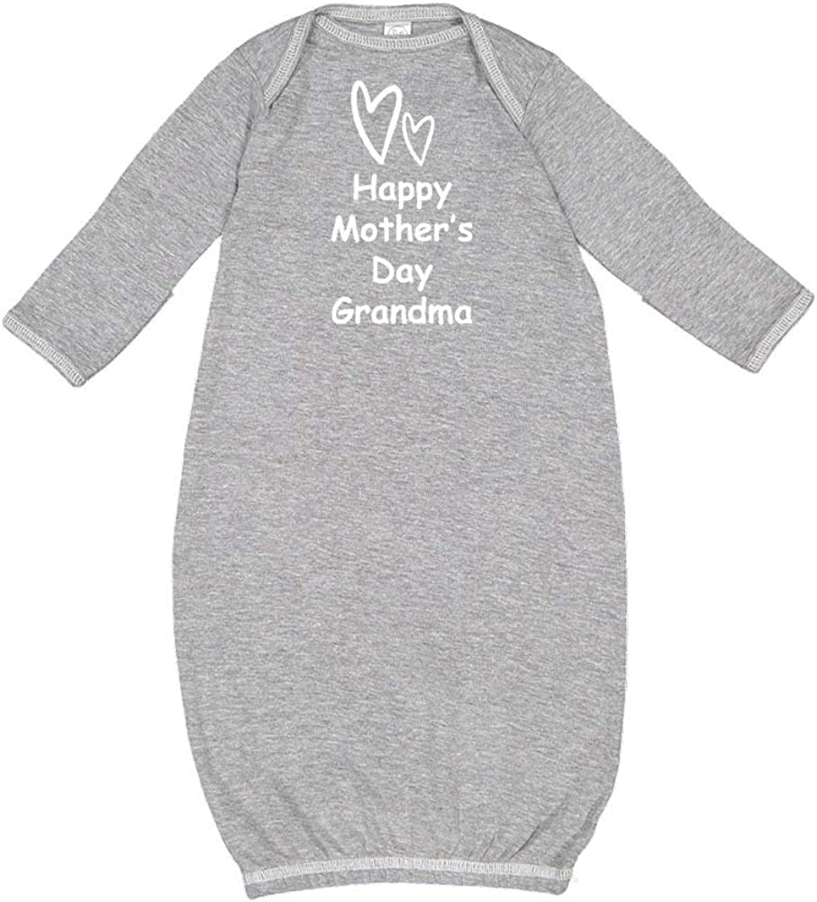 Happy Mothers Day Grandma Two Hearts Baby Cotton Sleeper Gown