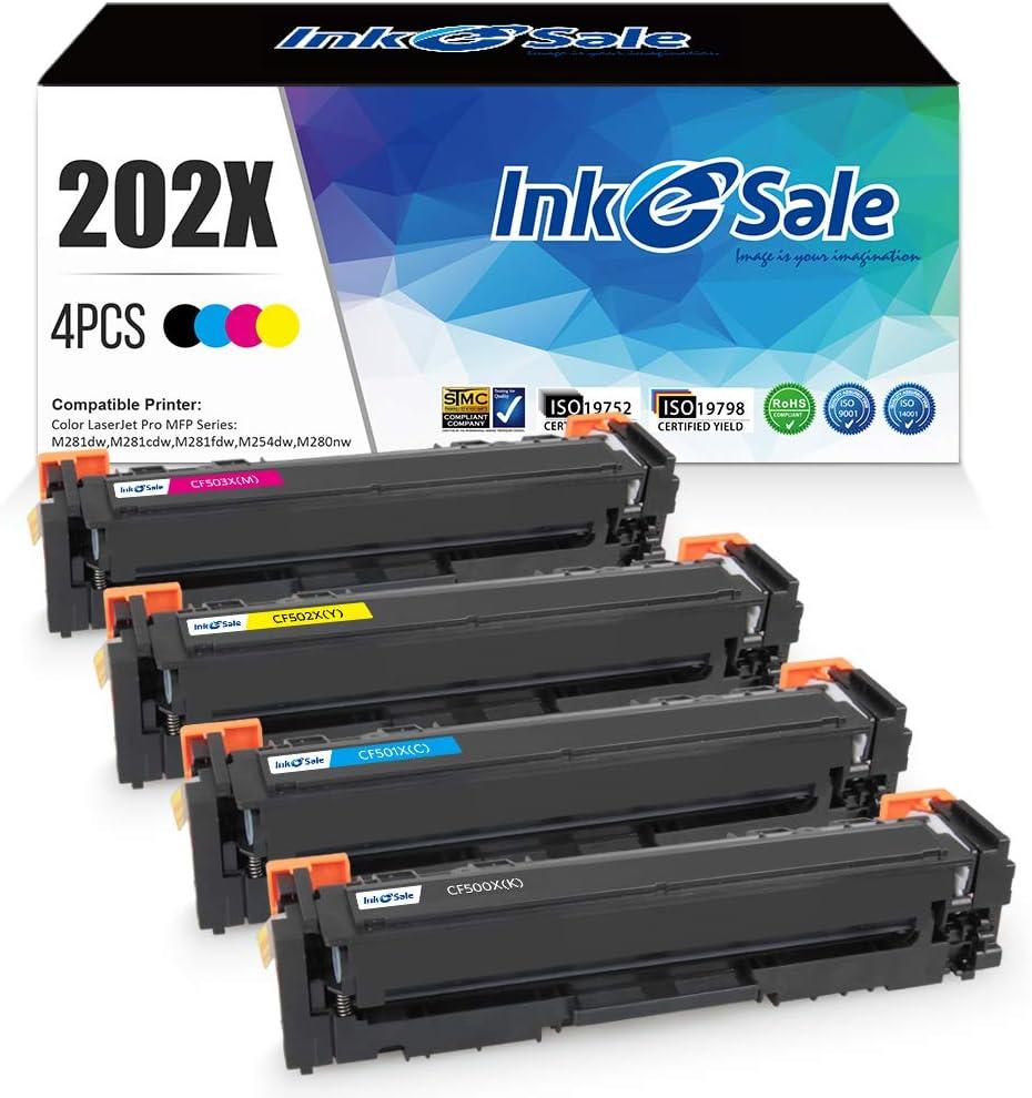INK E-SALE Compatible Toner Cartridges Replacement for HP 202X 202A CF500X CF501X CF502X CF503X High Yield, 1 Set, Use with HP Laserjet Pro M281fdw M254dw M254dn M254nw M281dw M281fdn M281cdw Printer