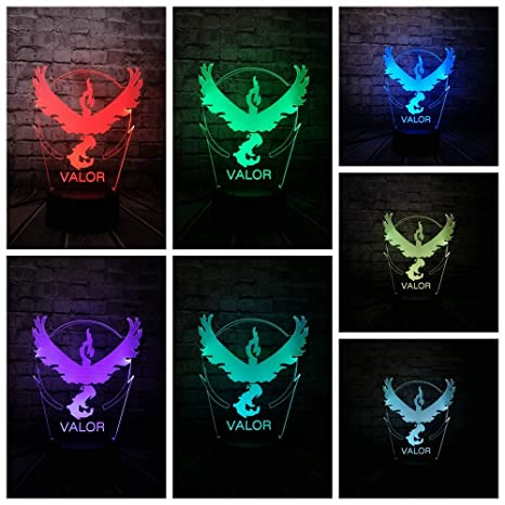 KangYD Lámpara visual 3D Pokemon Go Game Eagle/LED Night Light ...