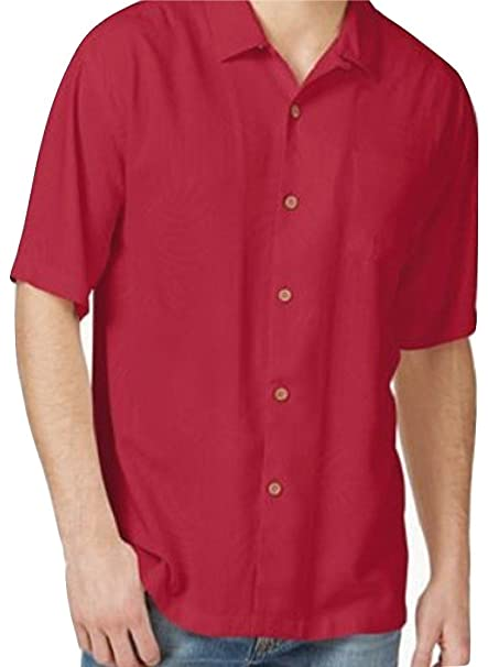 92ca4312 Image Unavailable. Image not available for. Colour: Tommy Bahama Tiki Palms  Silk Camp Shirt (Color: Regal Red (Brighter Than Pic
