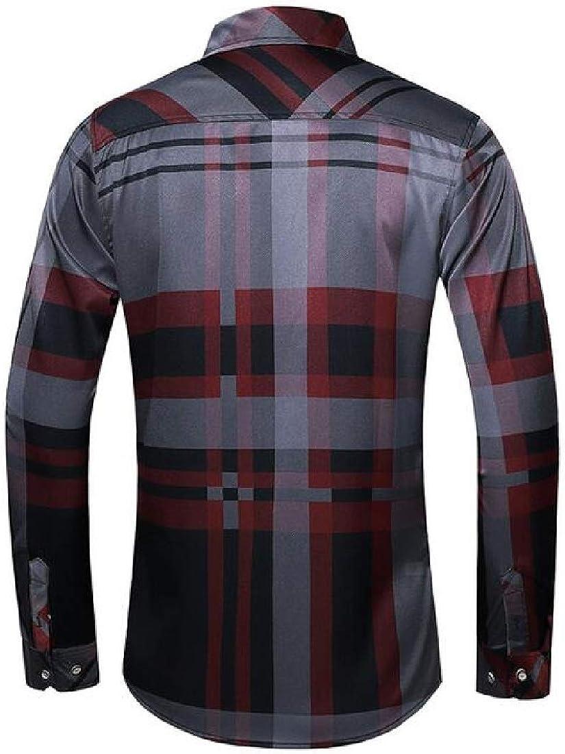 X-Future Mens Plaid Plus Size Formal Long Sleeve Button Up Dress Shirts