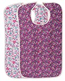 2 Pack Quilted Washable Adult Bib with Snap Closure-BERRY PRINTS
