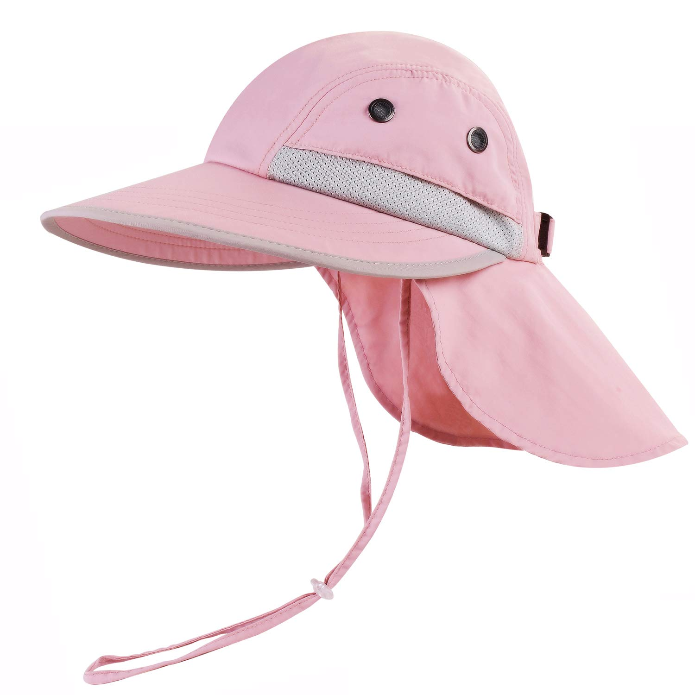 camptrace Safari Kids Sun Hat Wide Brim Bucket Cap Toddler Fishing Hats Boy Girl Pink