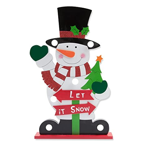 led light up christmas decorations holiday standing snowman figurine sculpture statue table top centerpiece for home - Outdoor Light Up Christmas Decorations