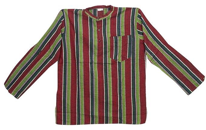 e92d62bb98 Mogul Interior Men's Shirt Kurta Green Striped Cotton Full Sleeves Yoga  Boho Tunic L