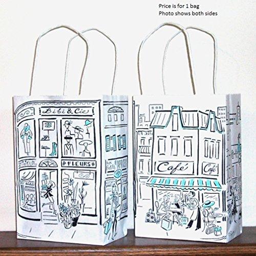 "Gift Bag - Small, Paper - Parisian Themed - 8-1/4"" x 5-1/2"" x 3-1/4"""