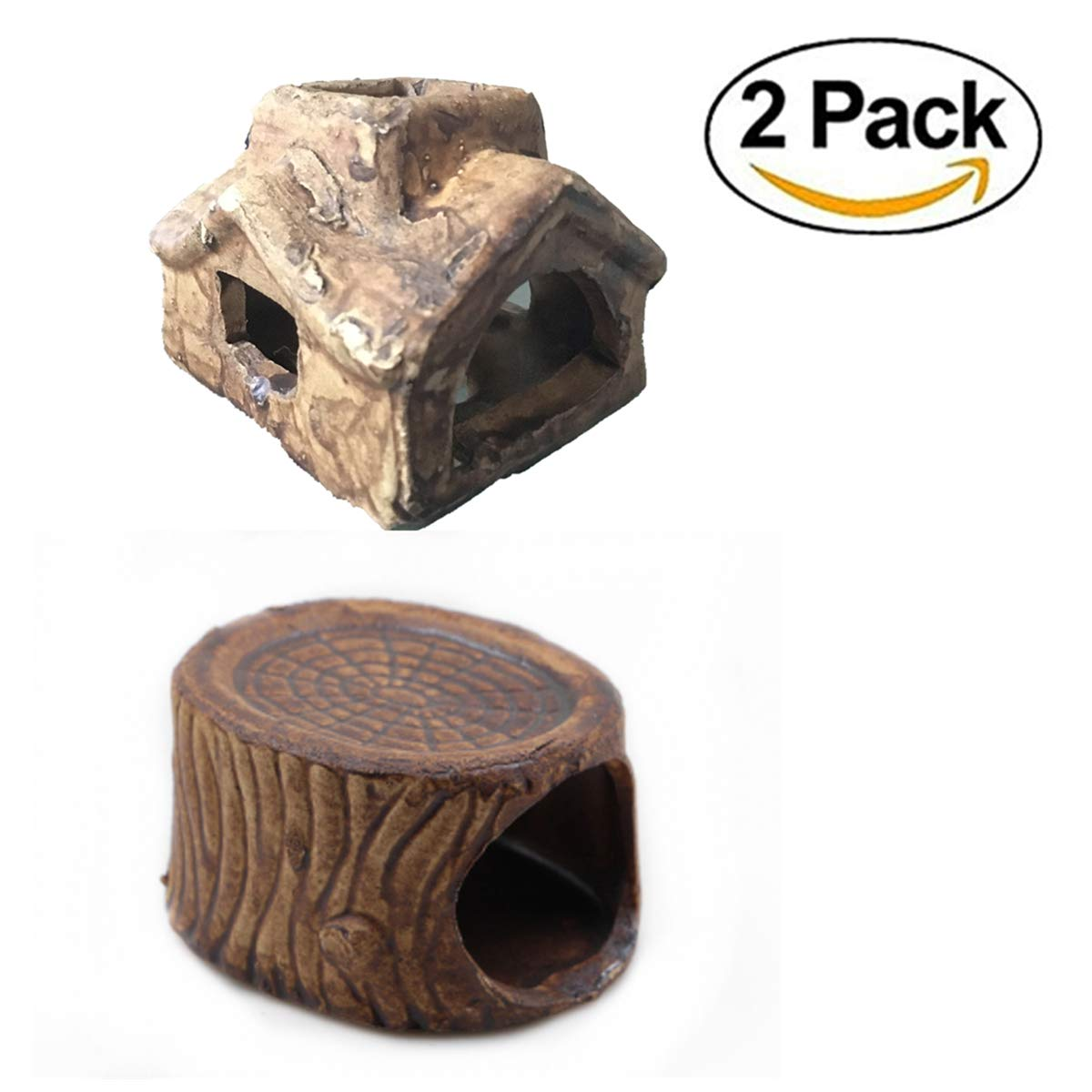 LOYEH Aquarium Decoration House Fish Tank Cave Ornament Hiding For Fun 3.9x3.1x2.3cm, 2 Pack