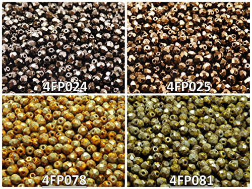 400 beads 4 colors Czech Fire-Polished Glass Beads Round 4 mm, Set 422 (4FP024 4FP025 4FP078 4FP081)
