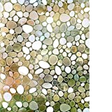 RABBITGOO Privacy Window Film Decorative Window Film Static Cling Glass Film 3D Pebble Glass Film for Home Office 17.5'' x 78.7''