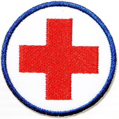 Costume National Logo (American Red Cross badge foursquare Medic First Aid Nurse Doctor Emergency army navy academy military us air force academy cavalry marine corps national guard logo Jacket Patch Sew Iron on Embroidered Sign Badge Costume)