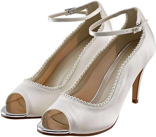 Bella - Ivory Satin Peep Toe Shoes (6