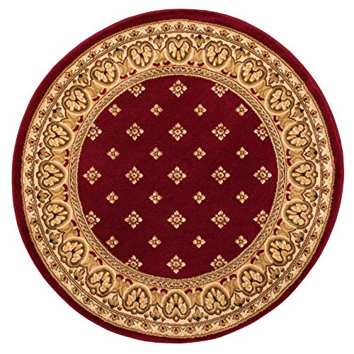 - Noble Palace Red French European Formal Traditional 8 Round ( 7'10'' Round) Area Rug Easy to Clean Stain Fade Resistant Shed Free Modern Contemporary Floral Transitional Soft Living Dining Room Rug