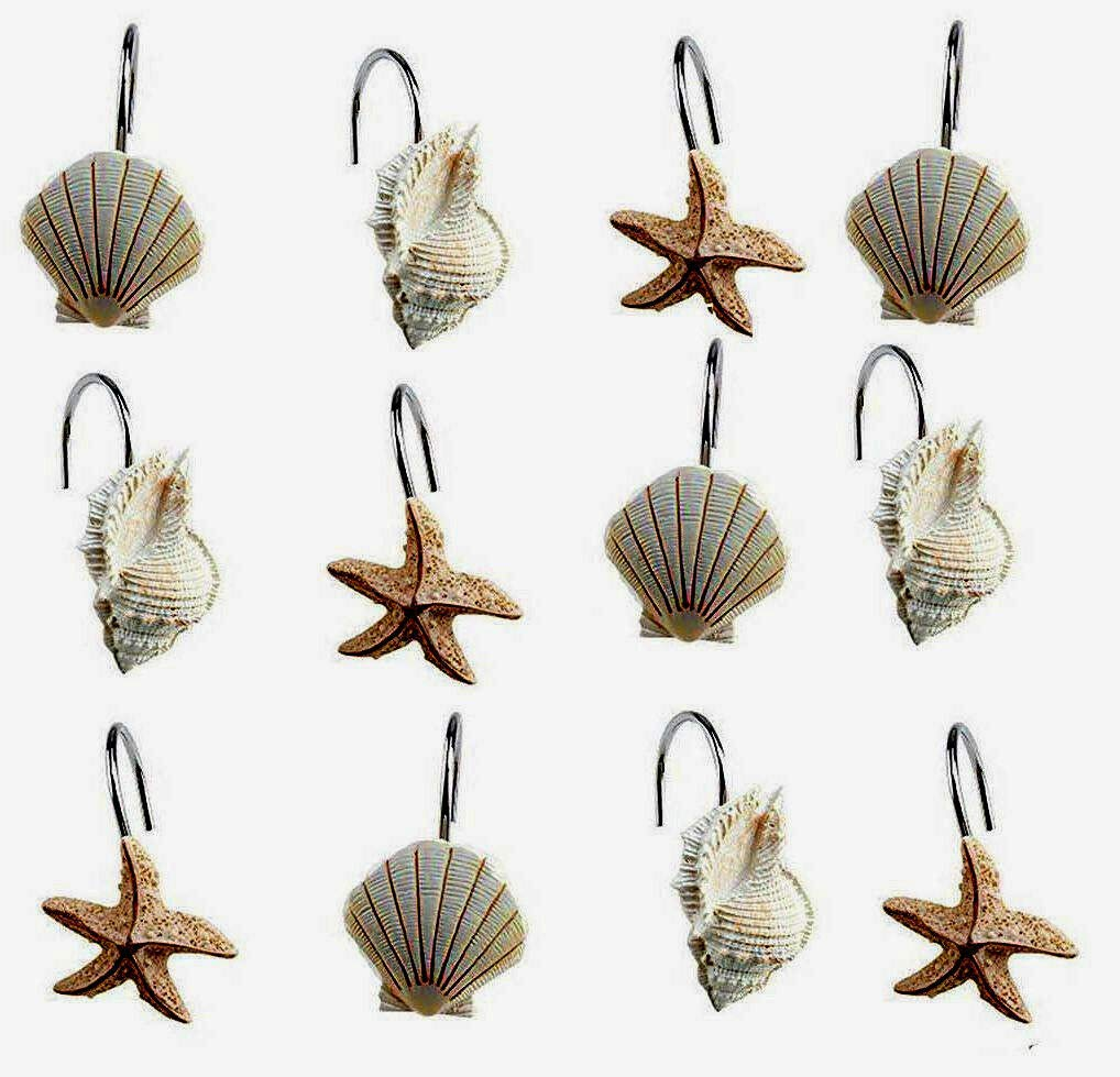 Lovely999 New Set of 12 Shower Beautiful Design - Perfect to Match All Kinds Rolling Curtain Hooks Sea Shell Starfish Shower Rings Hangers Rust Proof Hight Quality Shells Starfish Bathroom