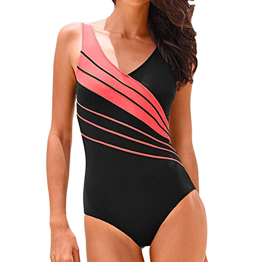 acadf42c91d Women Sexy Print Front Low Back High Cut One Piece Swimsuit Bathing Suit  Solid Costume Padded