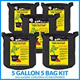 5 gallon container garden - BUBBLEBAGDUDE Grow Bags 5-Pack Breathable Fabric Container Round Aeration Growing Garden Pot with Sturdy Handles, Color Black ((5 Pack) - 5 Gallons)