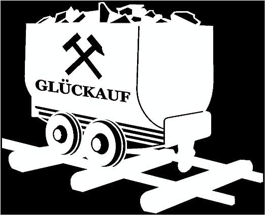 10x8,2cm azurblau Samunshi/® Gl/ück Auf Lore Aufkleber Gelsenkirchen Schalke Ruhrpott Oberhausen Bottrop Ruhrgebiet in 10 Gr/ö/ßen und 25 Farben