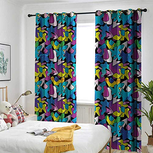 one1love Modern Decor Grommet Window Curtain Contemporary Street Grafiti Inspired Theme Image with Black Backdrop Art Print Embossed Thermal Weaved Blackout 72