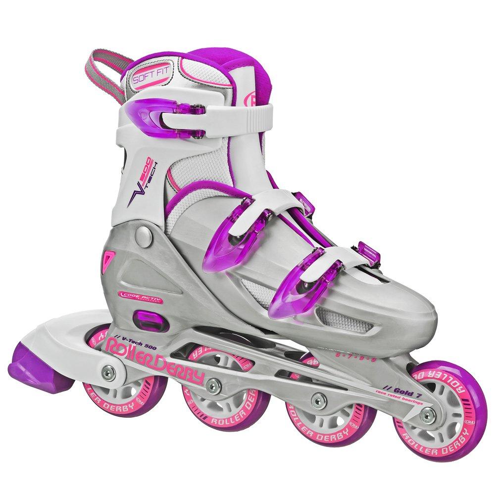 Roller Derby Women's V-Tech 500 Button Adjustable Inline Skate, Grey/Purple, Size 6-9