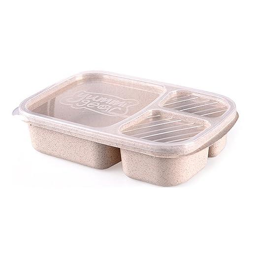 bestomz portátil paja Lunch Box - Recipiente para microondas ...