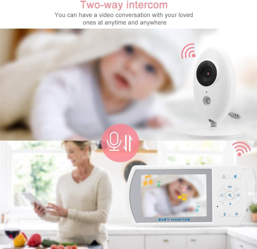 Monitor para beb/és monitor infantil inal/ámbrico giratorio de 3.5 pulgadas Monitor para el cuidado del beb/é en tiempo real C/ámara de seguridad C/ámara para mascotas C/ámara para ni/ñeras EU PLUG