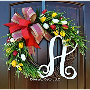 Mixed Tulip Front Door Wreath with Script Monogram and Red, White, and Yellow Tulips on Grapevine Base 82