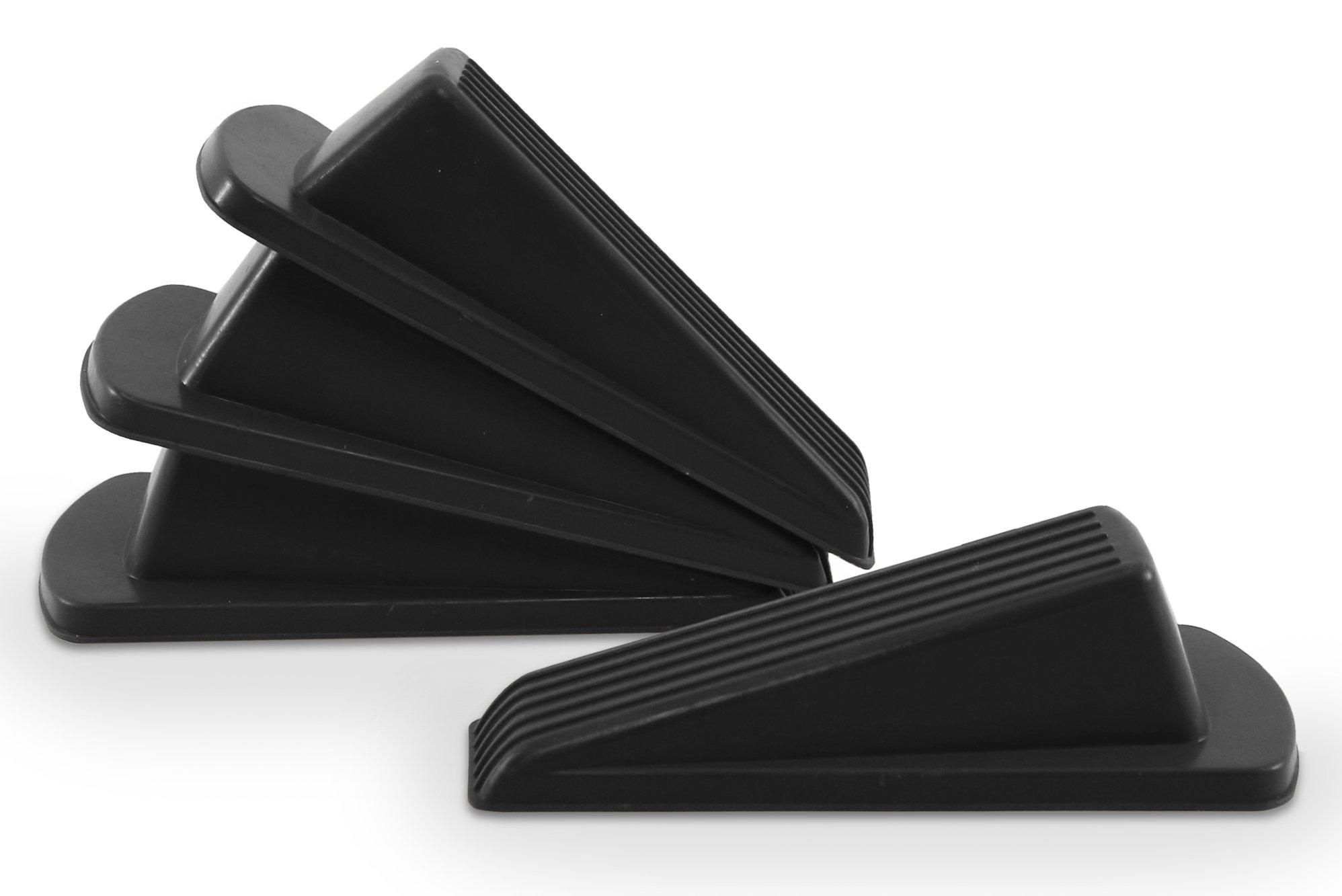 Home Premium Rubber Door Stop - Large Door Stopper Wedge, Multi Surface Design (4 Pack, Black) by HOME PREMIUM (Image #4)