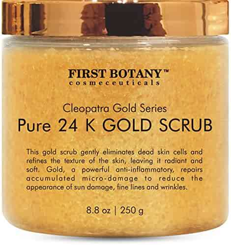 The BEST 24K Gold Scrub for Face and Body 8.8 oz reduces the appearance of Sun Damage, Fine Lines and Wrinkles- Powerful Body Scrub Exfoliator and Daily Moisturizer For All Skin Types