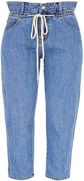 Pantalones de Mezclilla con cordón de Cintura Alta Suelta ...