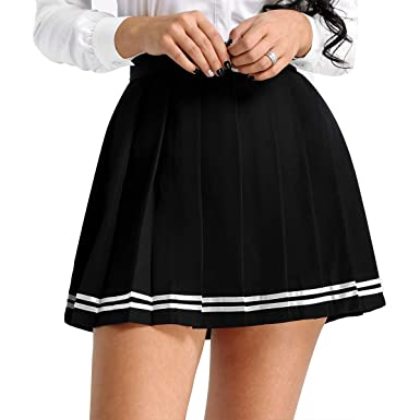 f4166e536b9fc dPois Women Japan Schoolgirls Uniforms High Waisted Pleated Mini Shorts  Skirts Cosplay Costume