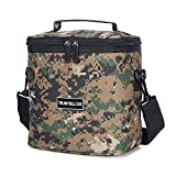Cooler Insulated Bag , KINGSWELLI7603 Insulated Lunch Box Tote Bag [Unisex Lunch Cooler Bags] For Camping, Work Men, Women With Detachable Shoulder Strap 8.5Hx5.7Wx8L Inches (Insulated Bag, Camo)