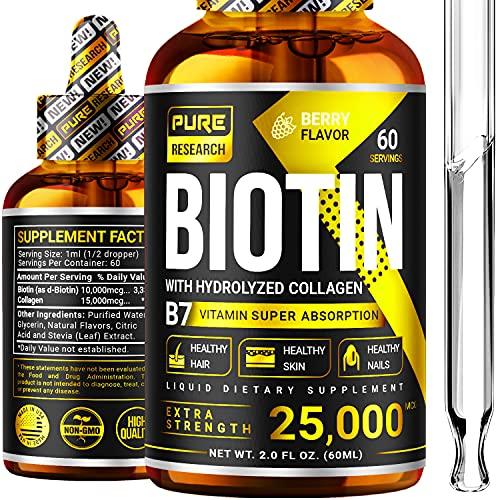 Liquid Biotin & Collagen 25,000mcg, Hair, Skin & Nails. Healthy Hair Growth Support Liquid Drops, Strong Nails, Glowing…
