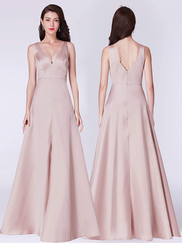 2f02ce3e3e1b Ever Pretty Women's V Neck Sleeveless Front Slit Champagne Formal Evening  Dresses 07373: Amazon.co.uk: Clothing