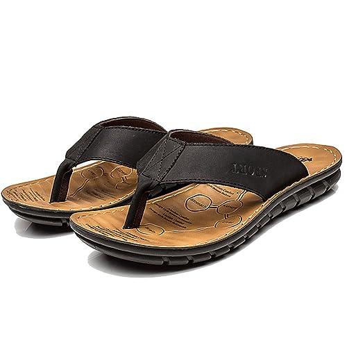 e888e1817d1e FLY HAWK Men s Leather Fanning Sandals Casual Shock Proof Slippers Flip- Flops Outdoor Beach