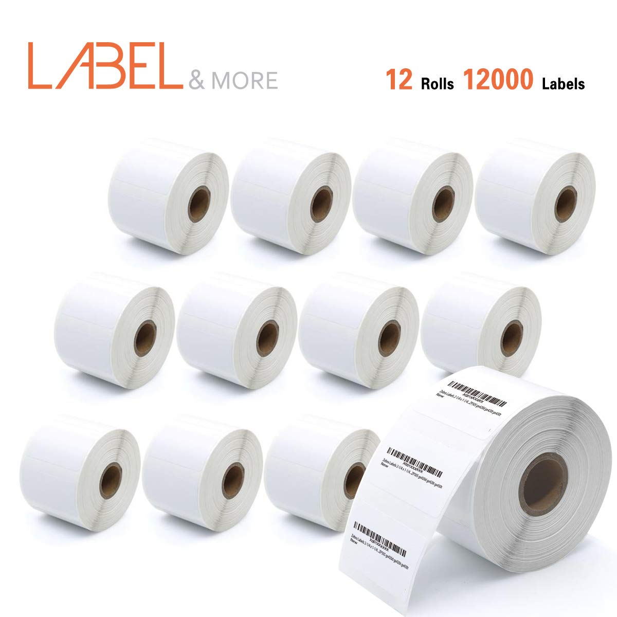 LABEL&MORE 2.25 x 1.25'' Direct Thermal Labels Zebra 2-1/4x1-1/4 inch Perforated SKU Labels for Barcode Address Postage and Shipping Work With Zebra lp2824 lp2844 ZP450 ZP505 gx420 [12Roll,12000Labels]