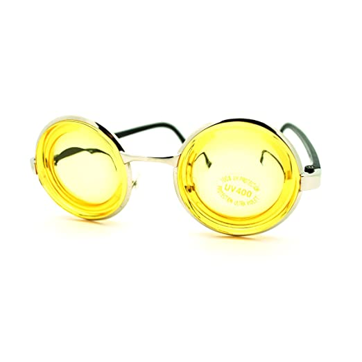 519340d220807 Amazon.com  Nerdy Thick Yellow Lens Round Circle Glasses Novelty ...
