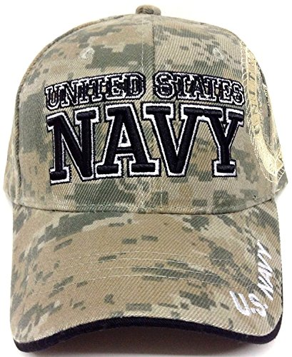 Military Hats United States Navy 3D Embroidered Adjustable Baseball Cap Hat (Green Camo) ()